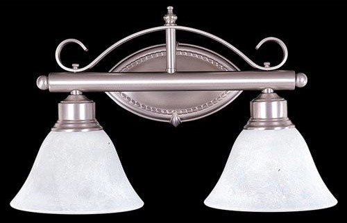 Metalcraft Satin Pewter Two Light Bath Fixture Modern Bathroom Vanity Lighting