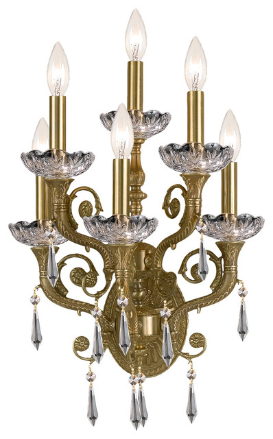 Traditional Crystal Wall Lights : Crystorama Regal 6 Light Clear Crystal Brass Sconce - Traditional - Wall Sconces - by Lampclick
