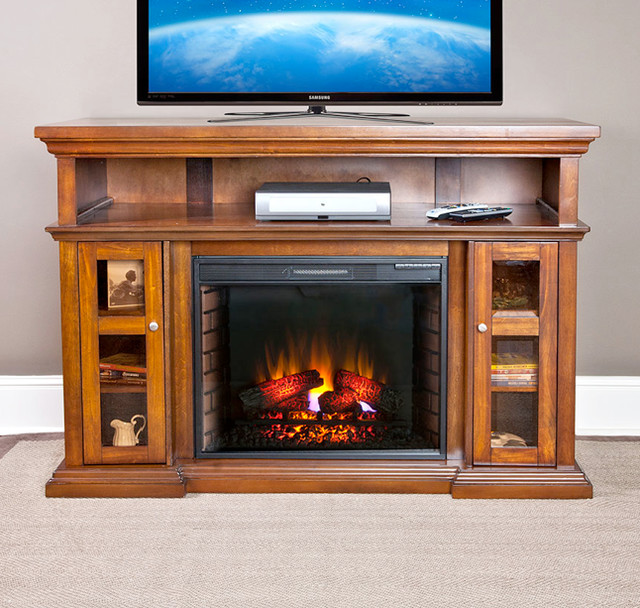 Pasadena Electric Fireplace Entertainment Center In Burnished Walnut 28mm468 W Traditional