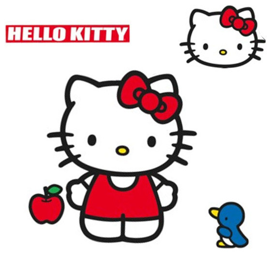 Hello Kitty Wall Accent Sanrio Classic Kitty Giant Decal - Contemporary - Wall Decals - by oBedding
