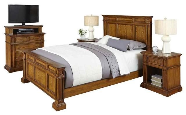 4 Pc Bedroom Set In Distressed Oak Finish King In L X In W X 56 Bedroom