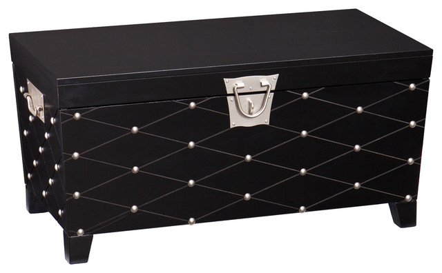 Cora Nailhead Cocktail Table Trunk Black And Satin Silver Coffee Tables By Southern