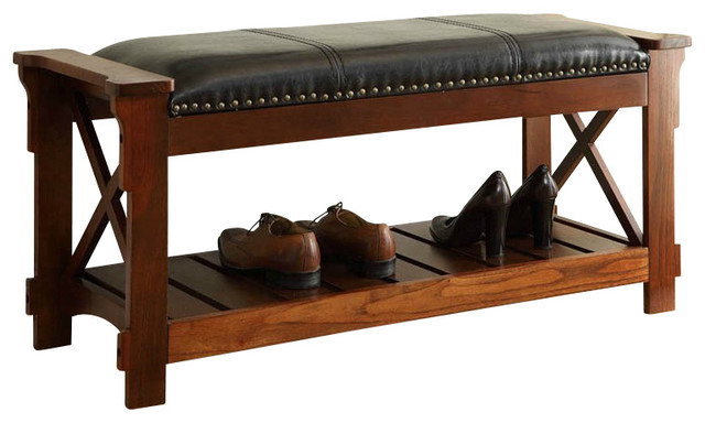 Traditional Foyer Benches : Entryway bench traditional accent storage benches