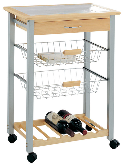 Kitchen Cart With 2 Wire Baskets And Wine Rack Kitchen
