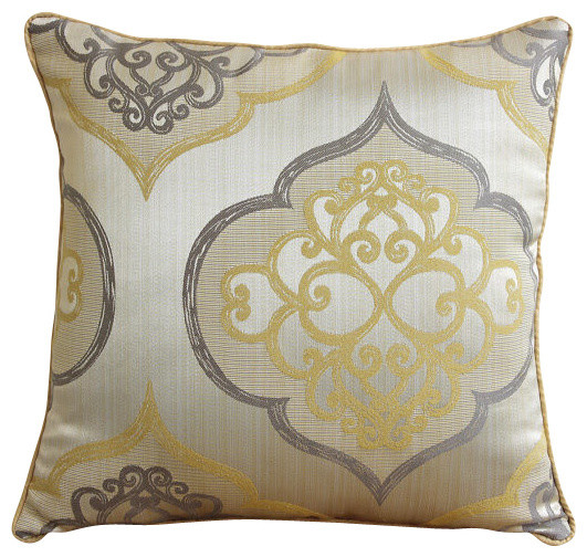 Damask Galore Decorative Pearl Throw Pillow Cover, 16x16 - Mediterranean - Scatter Cushions - by ...