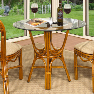 Boca Rattan Antigua 36 Inch Round Cafe Table With Glass Top In Royal Oak Co