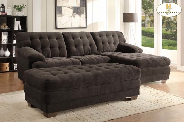 Homelegance modern brown tufted plush microfiber sectional for Brown microfiber sectional with chaise