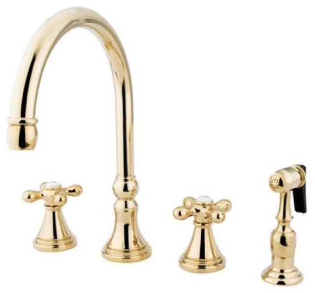 kitchen faucet in polished brass finish traditional antique polished brass radian side handle kitchen faucet