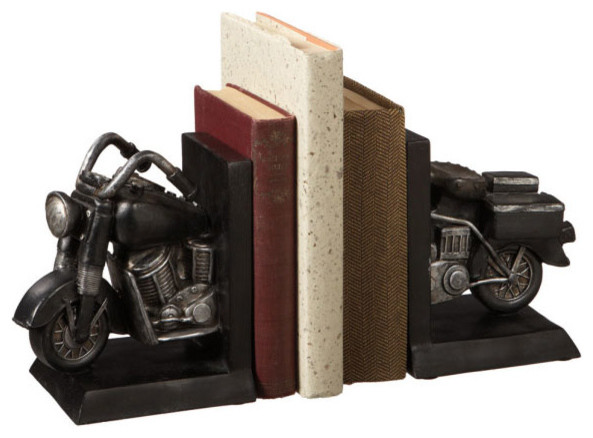 Vintage Motorcycle Bookends - Modern - Bookends