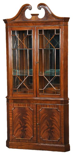 2 Section Mahogany Corner Cabinet, Mirrored Back ...
