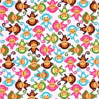 Pink Fabric With Colourful Monkeys Robert Kaufman