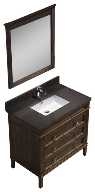 Bordeaux 36 Vanity Set With Mocha Woodland Quartz Top Black Red Oak