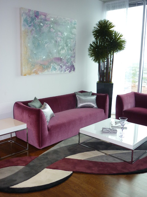 K d furniture purple silver loft contemporary for Purple and silver living room ideas