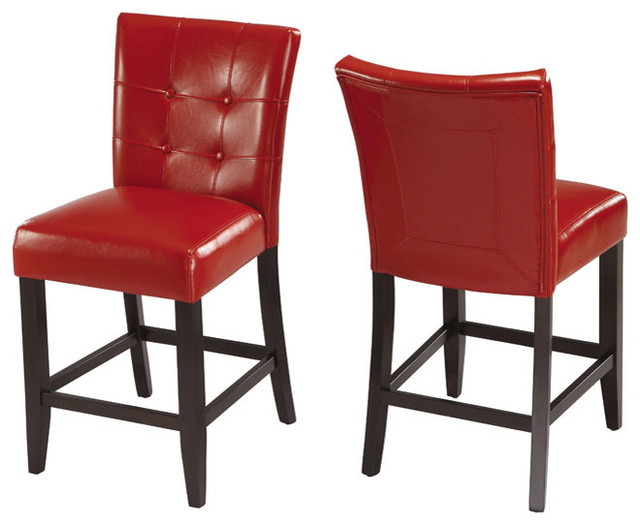Red Counter Stool (Set of 2)  Contemporary  Bar Stools and Kitchen