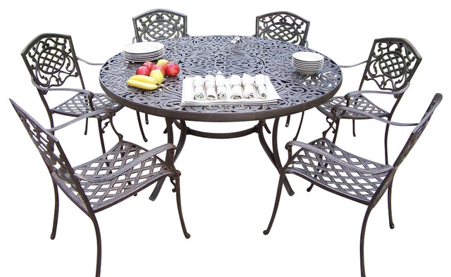 7 Pc Dining Table Set Contemporary Patio Furniture And Outdoor Furniture