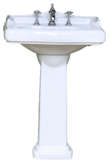 "Porcelain English Country Square Pedestal Sink, 24.25"" X"
