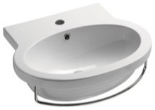 stylish oval wall mounted ceramic bathroom sink no faucet holes contemporary bathroom sinks. Black Bedroom Furniture Sets. Home Design Ideas