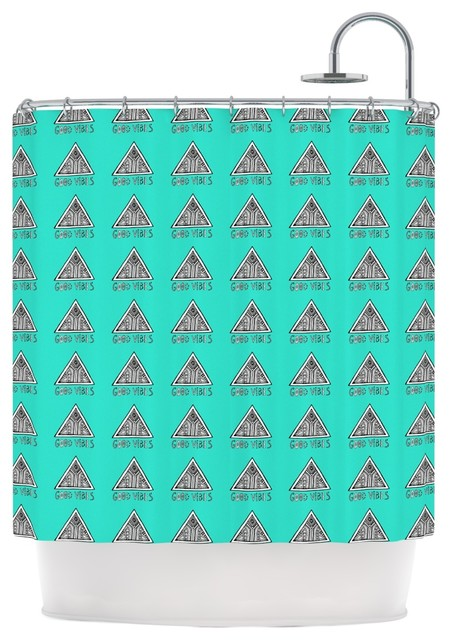 Vasare Nar Good Vibes Green Teal Shower Curtain Contemporary Shower Curtains By Kess