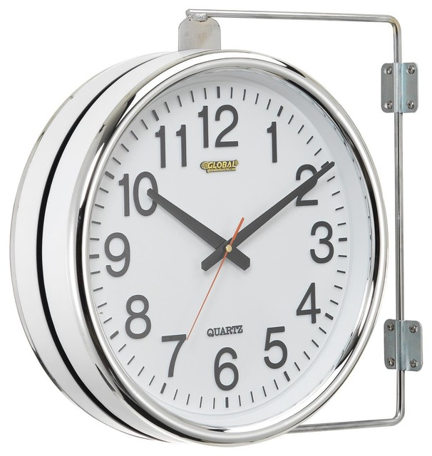 double sided paddington station solar powered led lighted wall side mounted station clock pottery barn battery operated wall clock