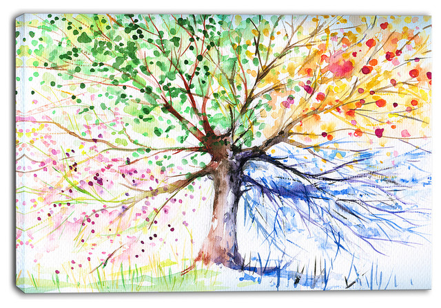 """""""Four Seasons Tree"""" Floral Canvas Art Print, 40""""x30"""" - Contemporary - Prints And Posters - by ..."""