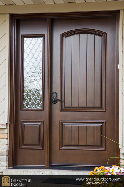 Custom wood doors by grandeur doors for Wooden window design with glass