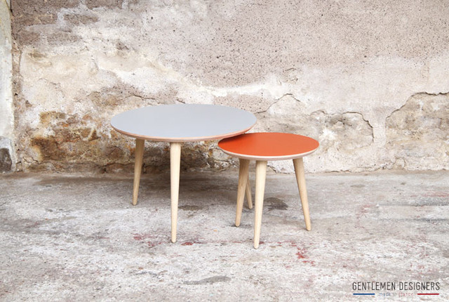 Table basse tripode ronde duo gigogne cr ation sur for Table basse ronde industrielle