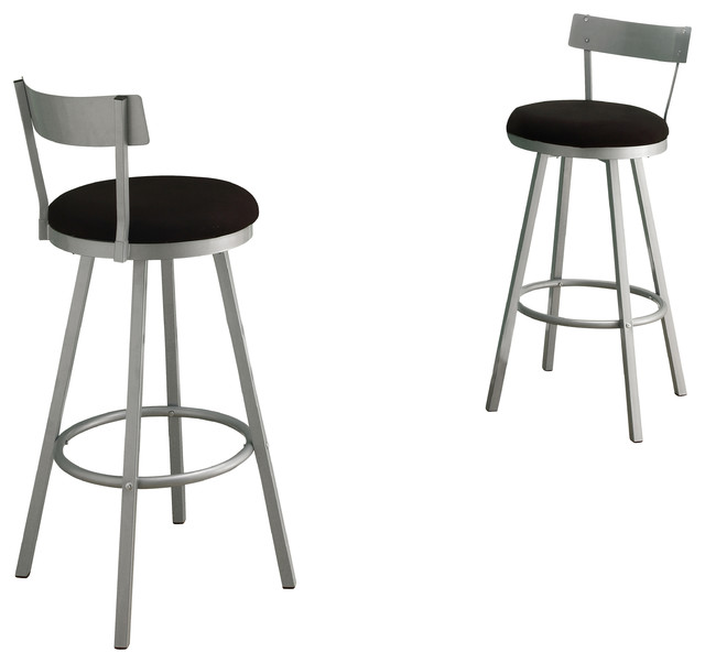 Silver Metal 43 Quot High Swivel Barstool Set Of 2