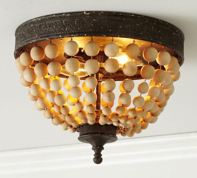 Elena Wood Bead Flushmount Traditional Ceiling