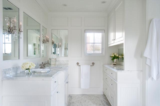 White Paneled Master Bathroom in Saint Davids - Traditional - Bathroom ...