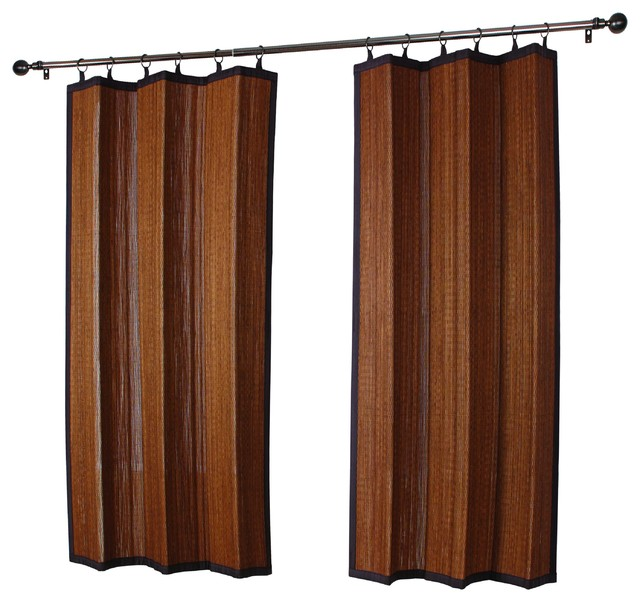 Versailles Patented Ring Top Bamboo Panel Indoor And Outdoor Transitional Curtains By