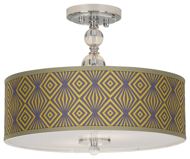 deco revival giclee 16 quot wide semi flush ceiling light