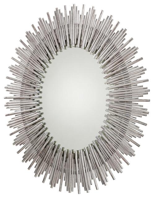 Prescott Lg Antiqued Silver Leaf Oval Iron Mirror