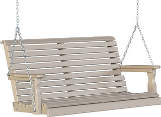 outdoor poly 4 foot porch swing rollback weatherwood