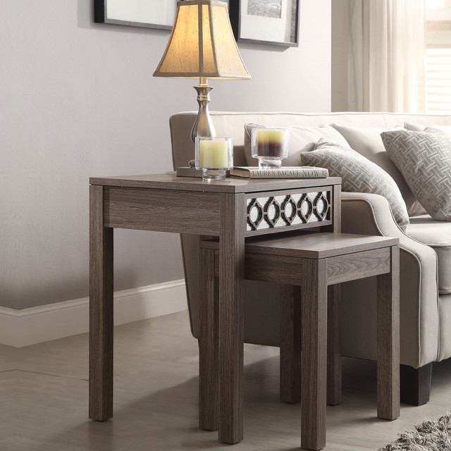Ave Six Sun Bleached Oak Nesting Tables Contemporary