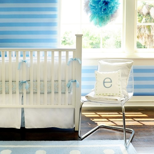 White Pique in Blue Cot Bedding