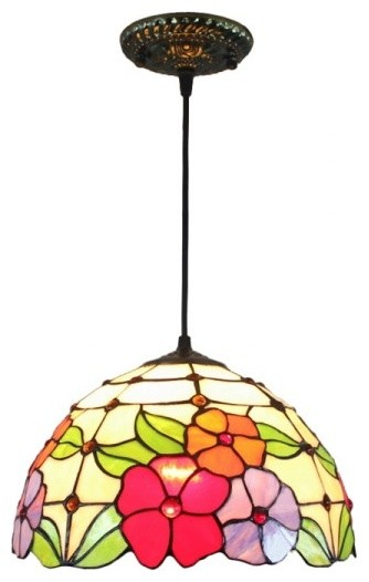 12 Quot Iron Base Stained Glass Tiffany Flowers Round Shade