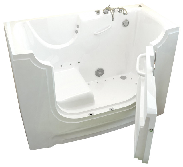 Venzi Bathing 30x60 Right Drain White Air Jetted Wheelchair Accessible Walk I