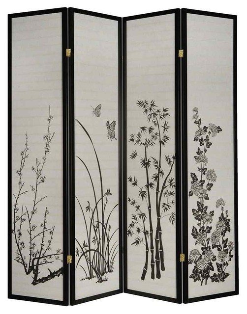 4 Panel Privacy Screen Asian Screens And Room Dividers By ShopLadder