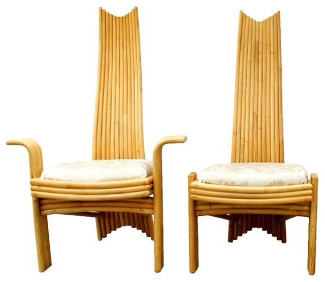 Mcguire rattan high back dining chairs set of 6 modern for Modern rattan dining chairs