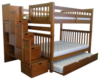 Bunk Beds With Stairway And Trundle Full Over Full Espresso Transitional