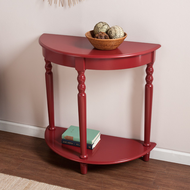 Upton Home Tristan Red Demilune Table Contemporary Side Tables End Tables By