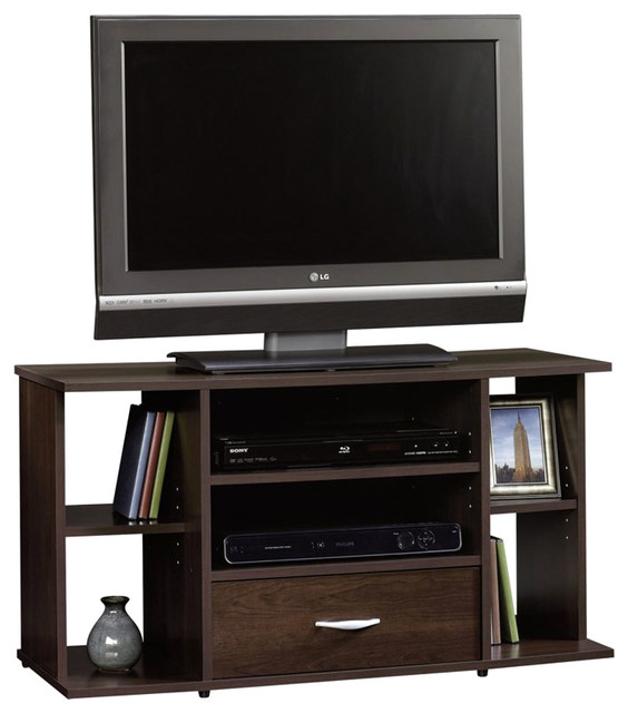 Sauder Beginnings Panel TV Stand in Cinnamon Cherry - Transitional - Entertainment Centers And ...