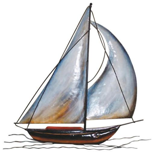 Metal Wall Decor Sailboats : Wall hanging metal sailboat beach style