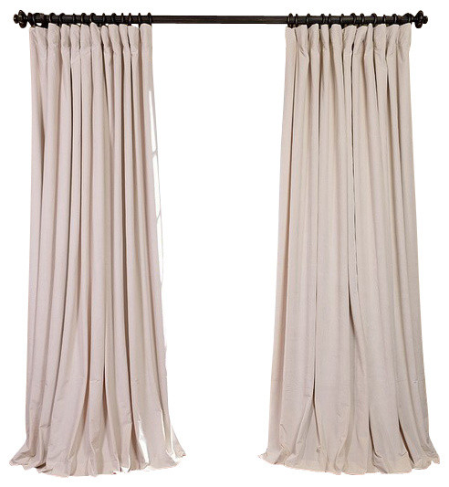 double wide blackout curtain single panel ivory velvet