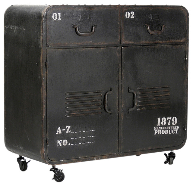 Vintage Iron Rolling Cabinet - Industrial - Storage ...