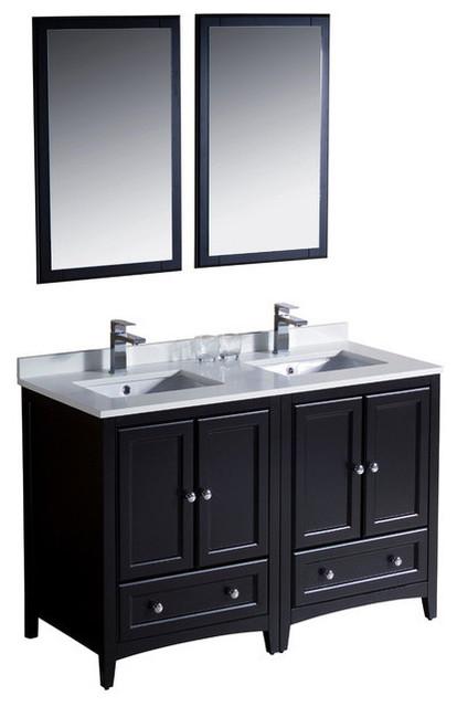 48 Inch Double Sink Bathroom Vanity Espresso Transitional Bathroom Vanities And Sink