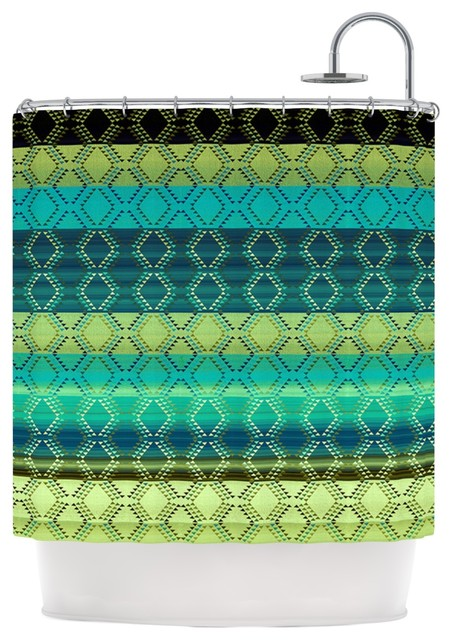 Nina may denin diamond gradient green turquoise emerald - Green and turquoise curtains ...