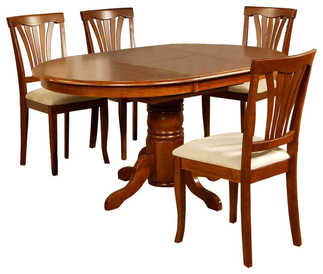"""5 Piece Dining Room Set: East West Avon 5-Piece 60""""x42"""" Oval Dining Room Set"""