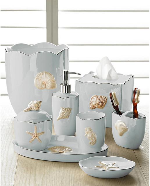 Marie Shells Seafoam Bath Accessories Set Coastal Style Beach Style Bathroom Accessories