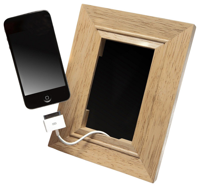 Wood frame mobile phone holder contemporary desk for All modern accessories